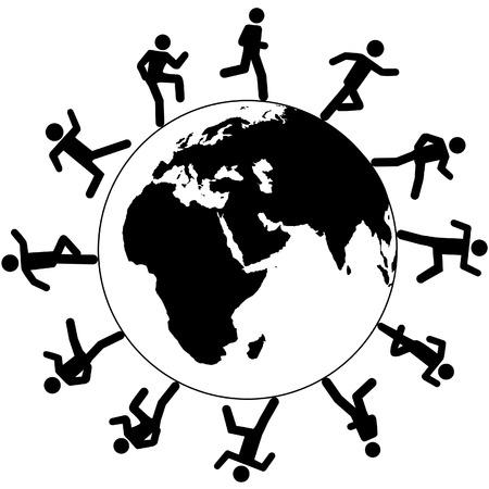 trotando: Personas Globe International trote en los negocios globales de ejecuci�n en todo el mundo de negocios, de viaje o de otra ocupaci�n.