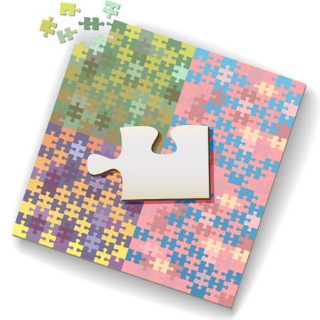 Big jigsaw piece as copyscpace on a large unfinished puzzle of many shades.