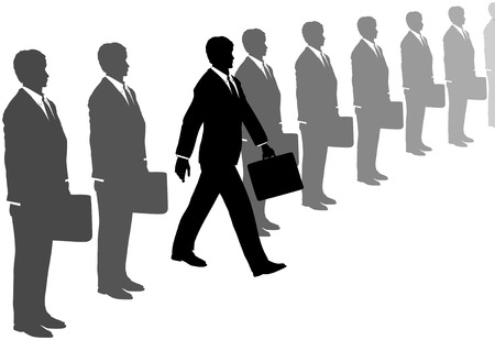 gray suit: A take charge business man with initiative and a briefcase steps out of a line of gray suits. Illustration