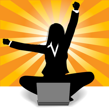 Business woman sits at laptop computer and raises fist and arm to celebrate her success. Vector