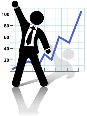 A business man symbol raises his fist in celebration of success against a chart of growth or profit. Vector