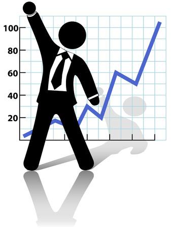 strichm�nnchen: Ein Kaufmann Symbol hebt die Faust in der Feier der Erfolg gegen ein Diagramm des Wachstums oder der Gewinn.
