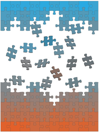 Jigsaw puzzle pieces fall or fly together to solve themselves in an easy solution. Ilustração
