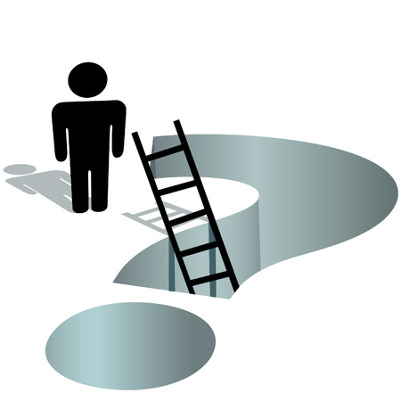A person stands by a deep question mark hole to ask for help. Ilustrace