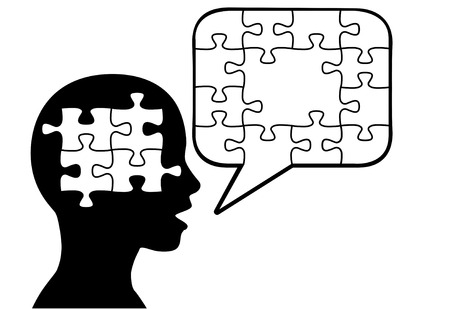 A puzzled silhouette person says a solution in jigsaw puzzle pieces in speech bubble copyspace. Иллюстрация