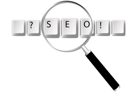 keywords: Easy to edit to create your design. Keyboard key symbols for Search Engine Optimized text and website searches magnified by magnifying glass.