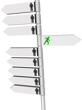 Many signs on a signpost point people in directions and one right choice. Stock Vector - 5377814