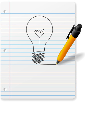educational materials: A 3D perspective ball point pen drawing an idea symbol light bulb on a page of ruled notebook paper with drop shadows. Illustration