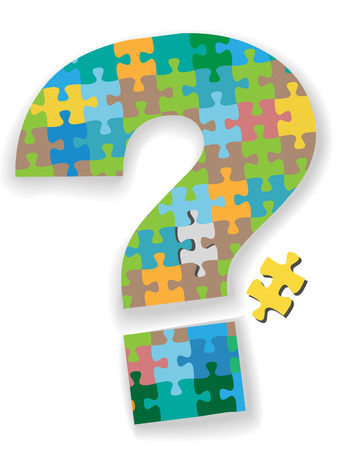 A colorful question mark jigsaw puzzle with missing piece as a symbol of your search solution. Stock Vector - 5410116
