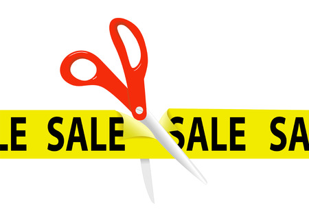 pair of scissors: A pair of orange scissors cut a bright yellow SALE ribbon tape to open a sale at a retail store or website.