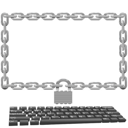 threats: Protect computers from viruses and other threats with a secure chain lock monitor security solution. Illustration