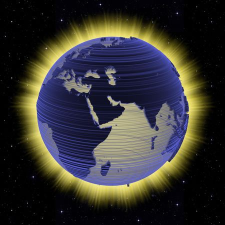 aura energy: An electronic scan high energy planet Earth on a bright fire aura and starfield background.