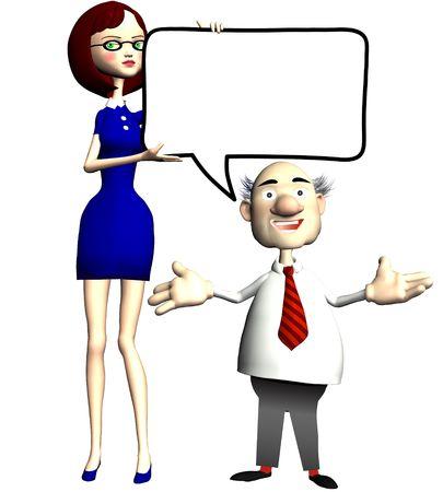 communication cartoon: A cartoon Secretary holds up a blank copyspace speech bubble for her businessman boss to talk business.
