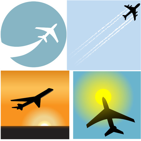 voyage: Décollage avec cet ensemble de quatre icônes avion de ligne de l'aéroport Voyage de voyageurs et des symboles. Illustration