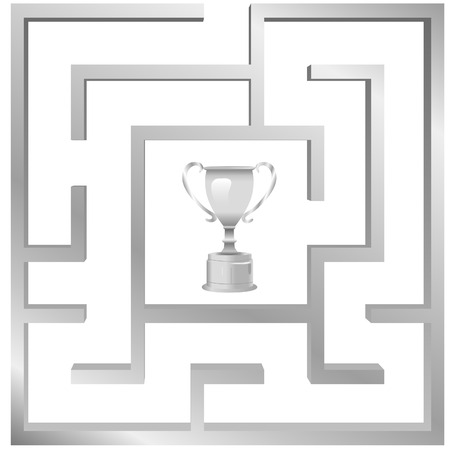 A trophy symbol of a prize or award for the solution of a maze problem.