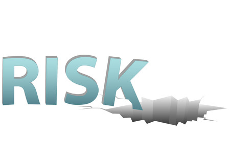 Uninsured RISK falls into a dangerous financial pitfall hole on a plain white page.