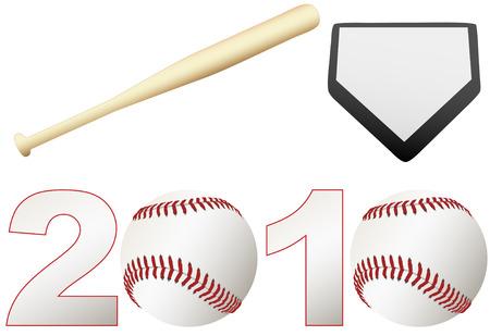 Kondig de 2010 Baseball Season games met een set honkballen, een knuppel, en een basis