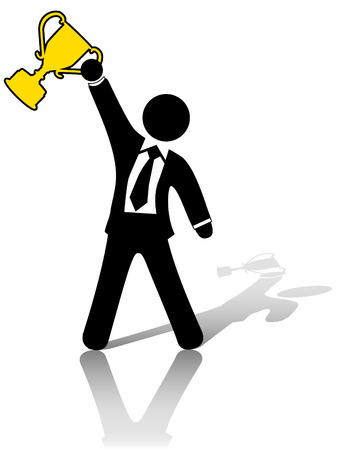raises: A business man symbol raises a trophy as an award in celebration of success. Illustration