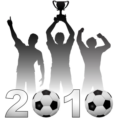 Team of football players celebate a 2010 season soccer victory a championship trophy title game.