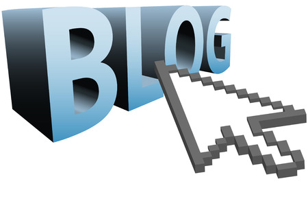 blogosphere: An arrow pixel cursor to click on a big blue BLOG 3D word.