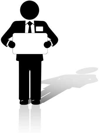 A Business Man in a suit with a name tag holds a blank copyspace meeting sign. Vector