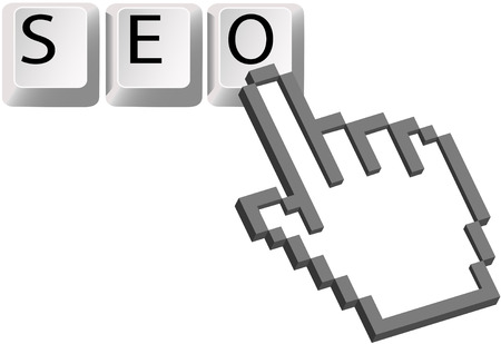 A Hand pixel cursor clicks on the SEO keys for a Search Engine Optimized search. Иллюстрация