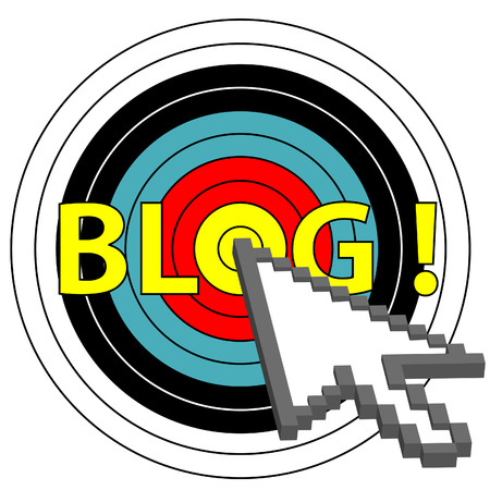blogosphere: A pixel arrow cursor clicks on a target market blog topic.