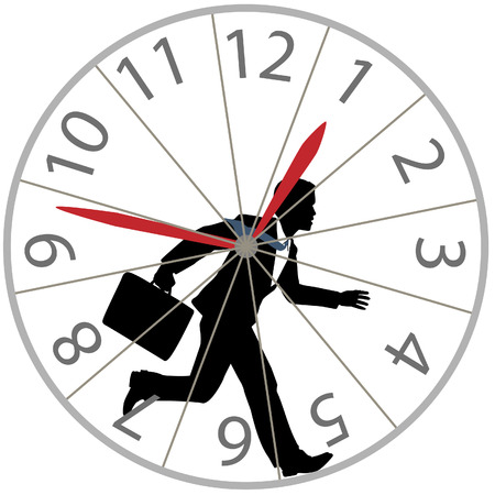 runs: A business man races against time in the rat race as he runs in a hamster wheel clock. Illustration