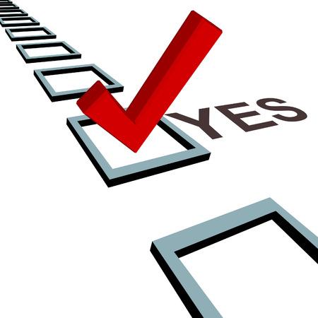 A big red check mark votes YES a row of 3D election poll boxes. Vektoros illusztráció