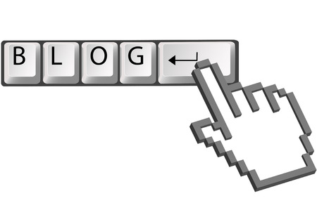 blogosphere: A hand pixel cursor clicks on computer keyboard Enter key to blog.