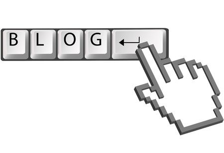 A hand pixel cursor clicks on computer keyboard Enter key to blog. Stock Vector - 5571014