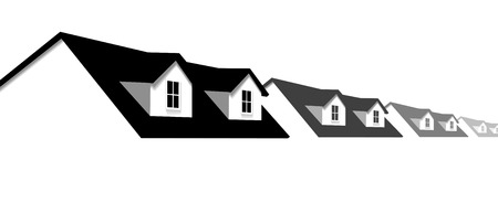 house construction: House symbol border. A row of homes with 2 dormer windows for sale, for real estate, construction, architecture, home repair designs.