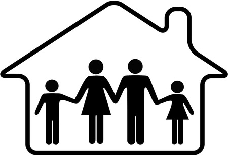 A family of parents and children are safe inside a rounded home symbol. Vector
