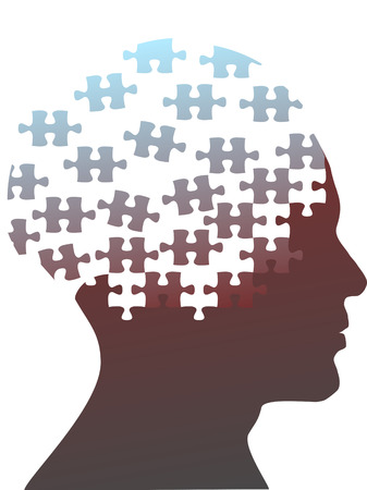piece: Jigsaw puzzle pieces as the mind in the profile head of the profile of a man.