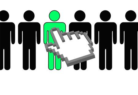 Een hand pixel cursor wijst op en kiest een persoon selectie uit rij symbool mensen.