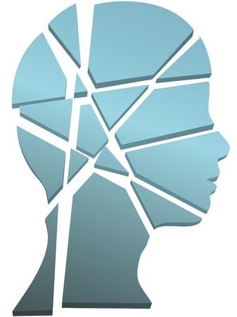 Psychology mental health concept - a persons head in profile shattered to pieces. Vector