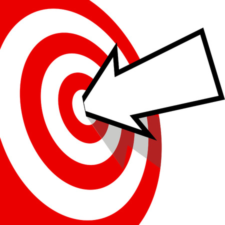 arrow target: An arrow with your copyspace hits the bulls eye of a red target dead center.