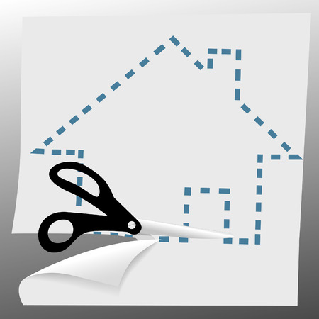 A pair of scissors cut out a house symbol on dotted lines.