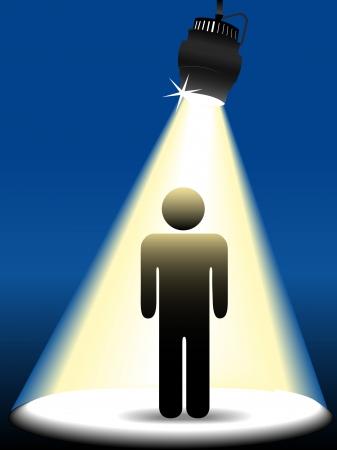 Una persona símbolo palo brilla figura en el centro del escenario en el centro de atención sobre un fondo azul.