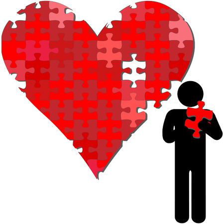 A valentine heart missing a piece held in the arms of a symbol person. Vectores