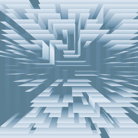 protrude: A digital technology background abstract of a structure of levels of blue planes. Illustration
