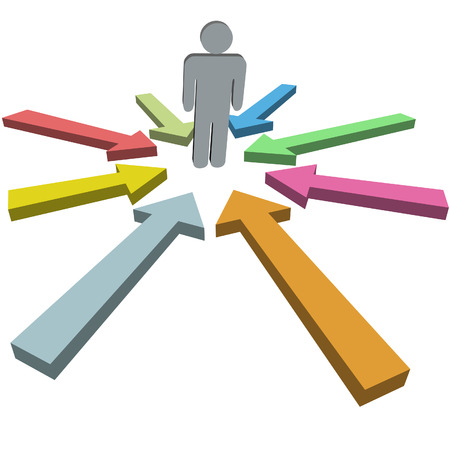 A group of arrow cursors in variety of colors point at a symbol man in the middle. Vectores