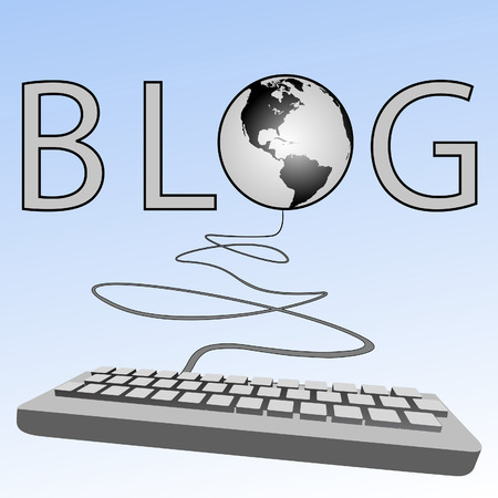 A blogging computer keyboard blogs to the Western Blogosphere of Earth on a blue sky background.