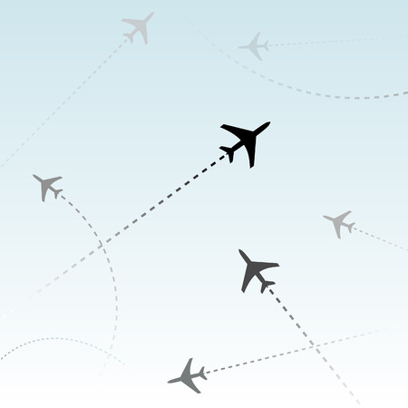 Air travel. Dotted lines are flight paths of commercial airline passenger jets flying in air traffic. Vector