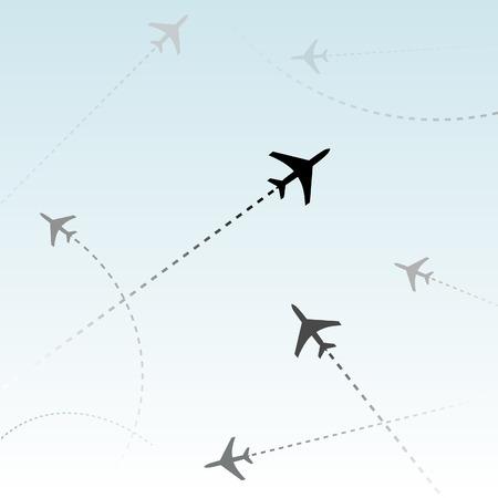 air travel: Viaggiare in aereo. Le linee tratteggiate sono percorsi di volo degli aerei passeggeri a fini commerciali delle compagnie aeree che volano in traffico aereo. Vettoriali