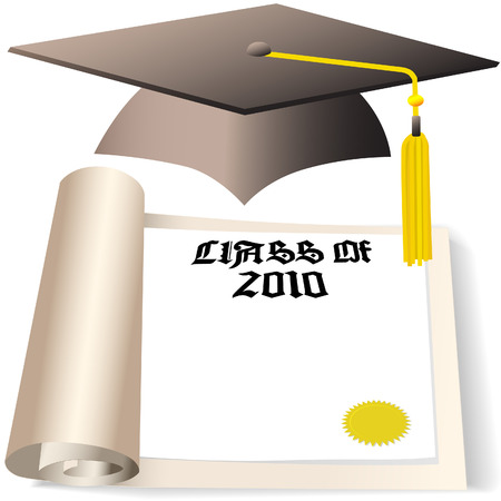 卒業帽と卒業証書 2010 年の卒業クラスのための copyspace と。  イラスト・ベクター素材
