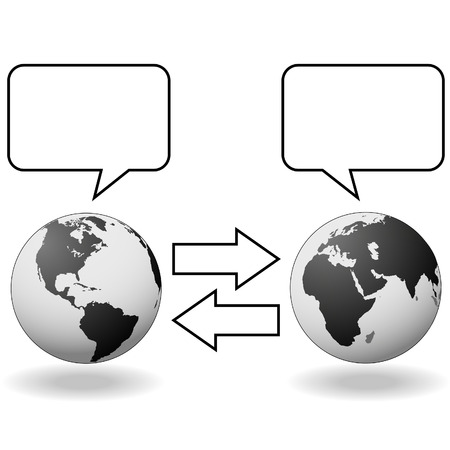 translating: East meets West and hemispheres talk in speech bubbles to communicate in translation.