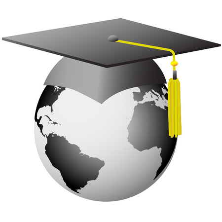 A mortar board Graduation Cap on Earth as a symbol of world education. Vector