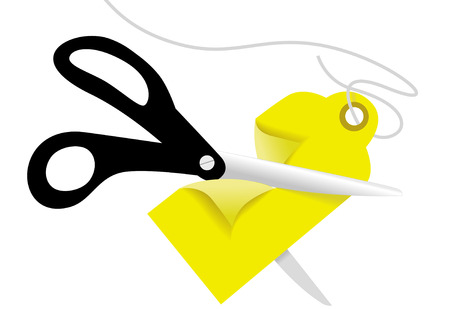 pair of scissors: A pair of black utility scissors cut a yellow price tag in half for a sale.