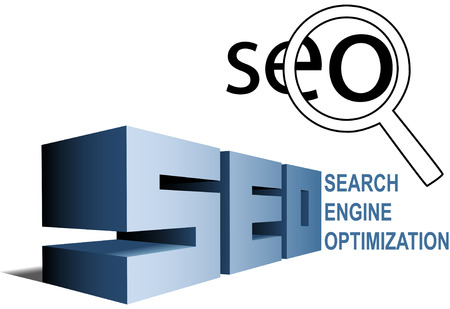 témata: SEO elements Magnifying Glass Search Engine Optimization icon and BIG letters.